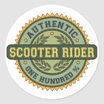 Authentic Scooter Rider Round Stickers