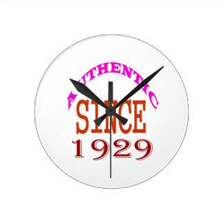 Authentic Since 1929 Birthday Designs Round Clock