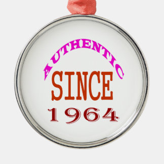 Authentic Since 1964 Birthday Designs Metal Ornament