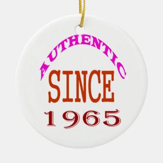 Authentic Since 1965 Birthday Designs Ceramic Ornament