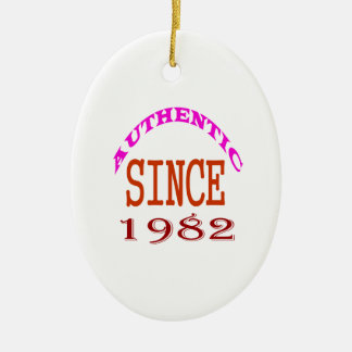 Authentic Since 1982 Birthday Designs Ceramic Ornament