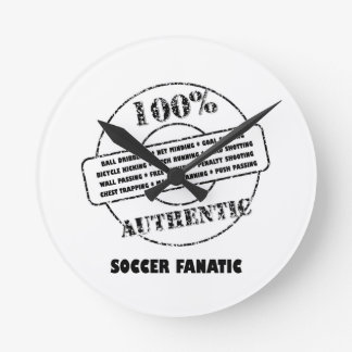 Authentic Soccer Fanatic Round Wall Clocks