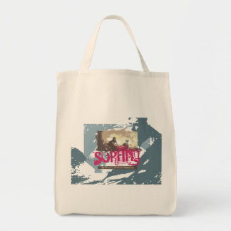 Authentic Surfing T shirts and Gifts Grocery Tote Bag