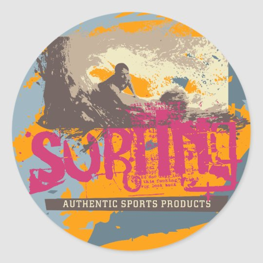 Authentic Surfing T shirts and Gifts Classic Round Sticker