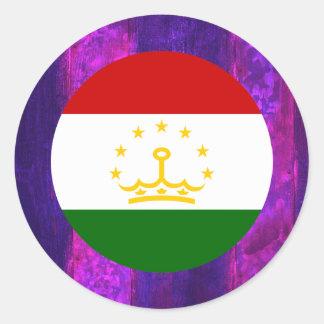 Authentic Tajik Flag Classic Round Sticker