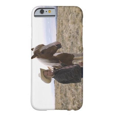Authentic young cowgirl on range with horse in barely there iPhone 6 case