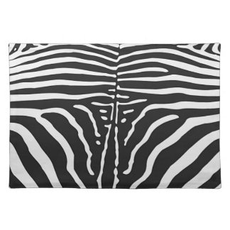 Authentic Zebra Skin Print - black white stripe Placemat