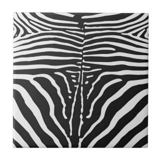Authentic Zebra Skin Print - black white stripe Tiles