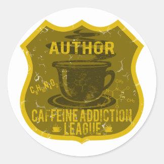 Author Caffeine Addiction League Classic Round Sticker