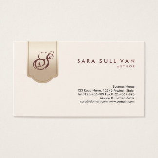 Author Gold Tab Monogram Business Card