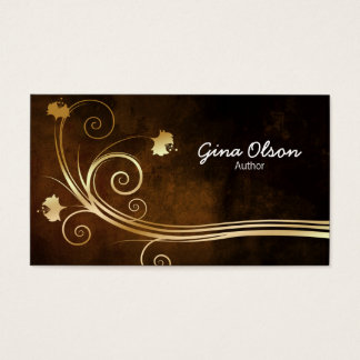 Author Literary Arts Elegant Gold Floral Swirl Business Card