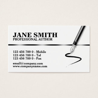 Author novelist calligraphy writer business card