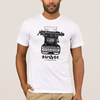 Author t-shirt with vintage typewriter graphic art