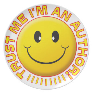 Author Trust Me Smiley Party Plate