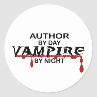 Author Vampire by Night Classic Round Sticker