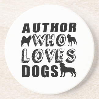 author Who Loves Dogs Sandstone Coaster