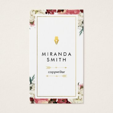 Professional Business Author Writer Business Card - Chic Floral