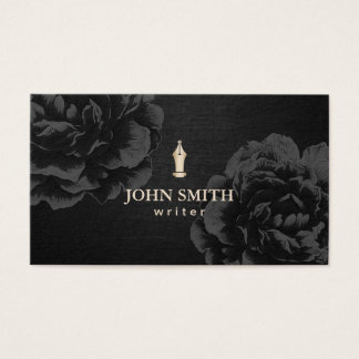 Author Writer Gold Pen Nib Elegant Black Floral Business Card