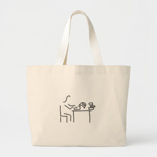 author writer typewriter large tote bag