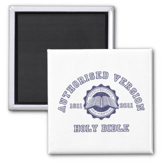 Authorised Version College Style in blue distress 2 Inch Square Magnet