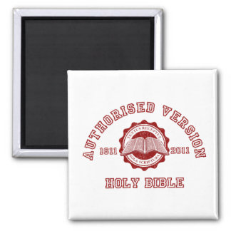 Authorised Version College Style in red distressed 2 Inch Square Magnet
