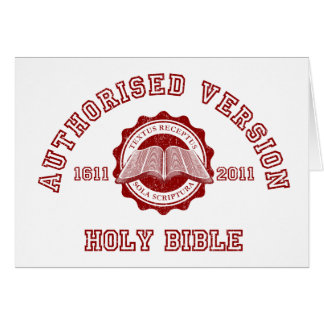 Authorised Version College Style in red distressed Card