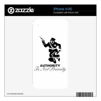 Authority is not Priority iPhone 4S Decals