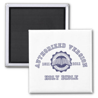 Authorized Version College Style in blue distress 2 Inch Square Magnet