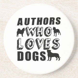 authors Who Loves Dogs Sandstone Coaster