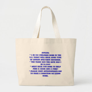 AUTISM:* 1 IN 150 CHILDREN BORN IN THE U.S. TOD... CANVAS BAGS