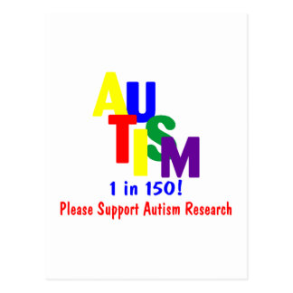 Autism 1 in 150 (Support Autism Research Bright) Postcard