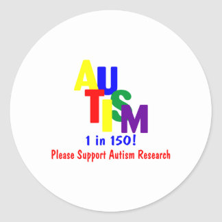 Autism 1 in 150 Support Autism Research Bright Round Sticker