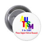 Autism 1 in 150 Support Autism Research Buttons