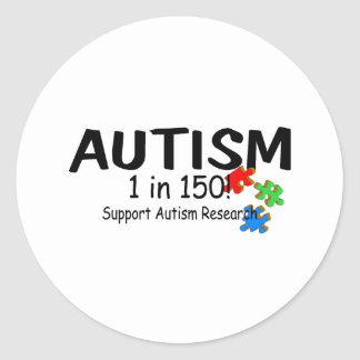 Autism 1 in 150 Support Research PP Round Stickers