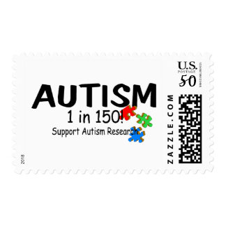 Autism 1 in 150 Support Research (Puzzle Pieces) Postage