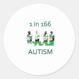 Autism 1 in 166 classic round sticker
