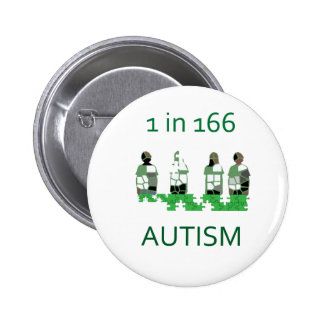 Autism 1 in 166 pinback buttons