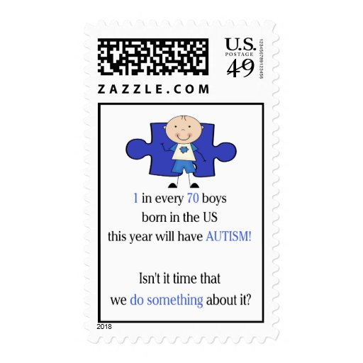 Autism 1 in 70 postage