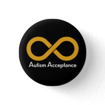 Autism Acceptance gold infinity Button