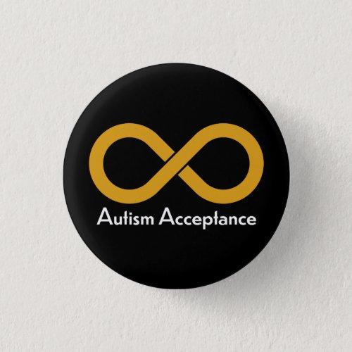 Autism Acceptance gold infinity Button