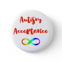 Autism Acceptance Infinity Symbol Pinback Button