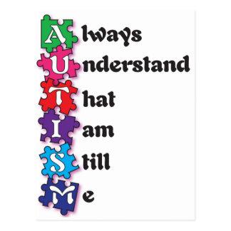 Autism Acrostic Poem Postcard