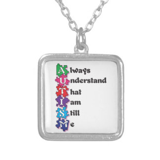 Autism Acrostic Poem Silver Plated Necklace