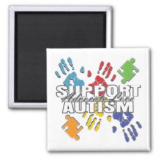 Autism Advocacy Handprints 2 Inch Square Magnet