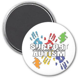 Autism Advocacy Handprints 3 Inch Round Magnet