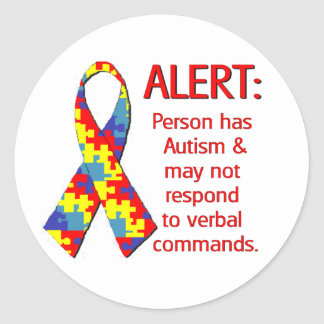 Autism Alert 1 Classic Round Sticker