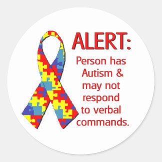 Autism Alert 1 Round Sticker