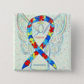 Autism Angel Puzzle Awareness Ribbon Pins