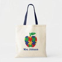 Autism Apple Personalized Teacher Tote Bag