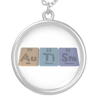 Autism-Au-Ti-Sm-Gold-Titanium-Samarium Round Pendant Necklace